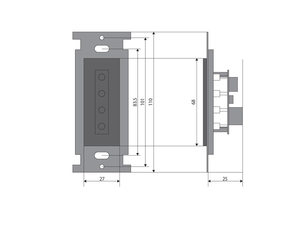 ウォールマウント発光器の寸法