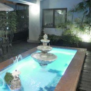 池の照明・噴水